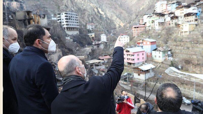 Bakanlar Soylu ve Kurum felaket bölgesinde