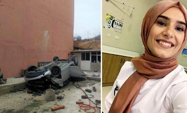 Otomobiliyle 15 metreden uçup, duvara çarpan Seycan hemşire öldü