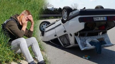 Bursa'da otomobil takla attı! Sürücü dehşeti yaşadı