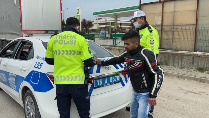 Kısıtlamada ehliyetsiz motosiklet sürücüsüne 6 bin TL ceza
