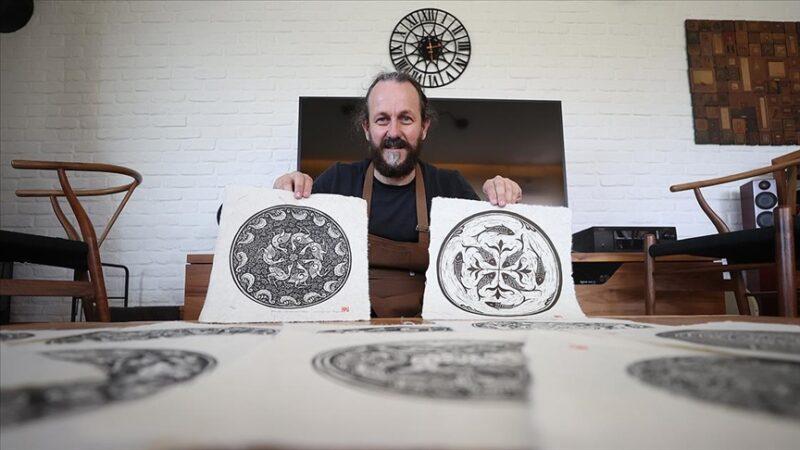 Selçuklu motiflerini el yapımı kağıtlara işleyip geleceğe taşıyor