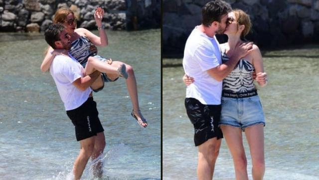 Aşka geldi! Eşini öpücüklere boğdu