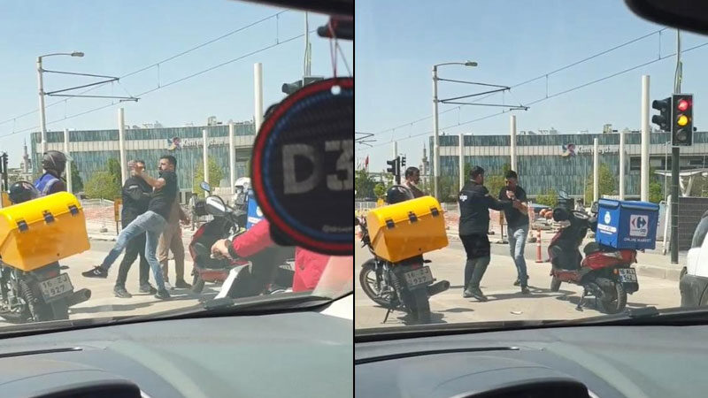 Bursa'da motosikletli kuryeler birbirine girdi