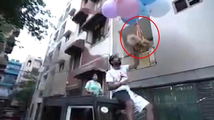 Köpeklerini balonlara bağlayarak uçurmaya çalıştı!