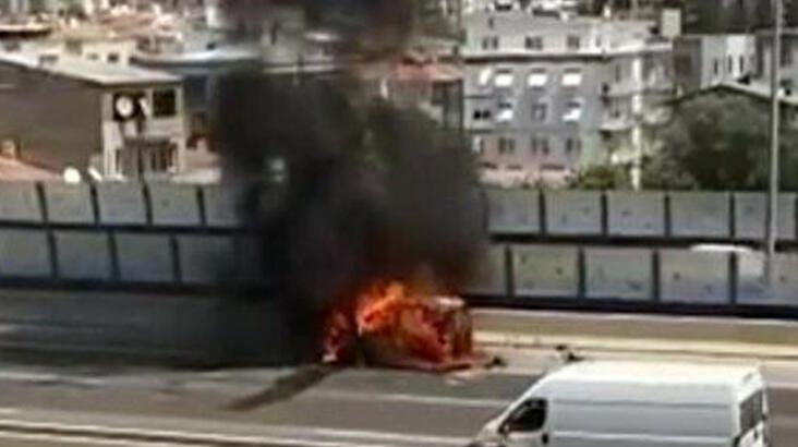 Aracında çıkan yangını söndürmek isterken ölümden döndü!