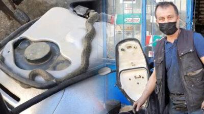 Bursa'da tamir ettiği motosikletten yılan çıktı