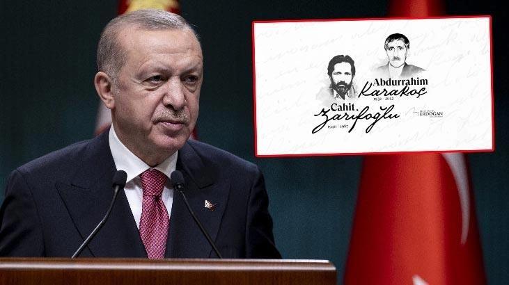 Cumhurbaşkanı Erdoğan, Karakoç ve Zarifoğlu'nu andı