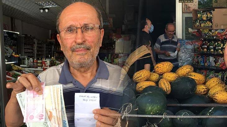 Marketten 8 yıl önce aldıkları için zarfla 500 lira bırakıp helallik istedi