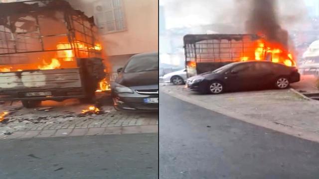 Isınmak için yakılan ateşle kamyonet küle döndü