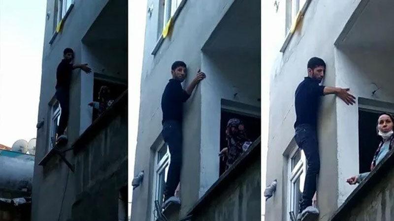 Hırsız pencerede mahsur kaldı! Apartman sakinlerine yalvardı