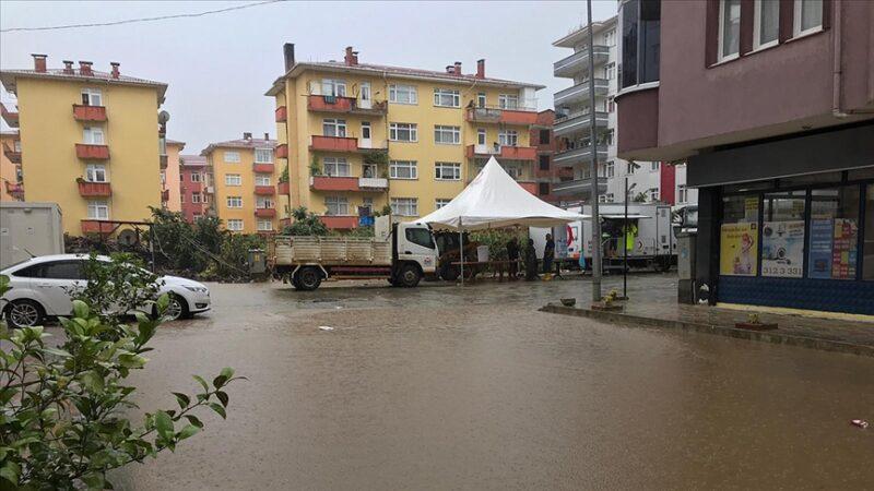 Arhavi'de sağanak! İki mahalleyi su bastı
