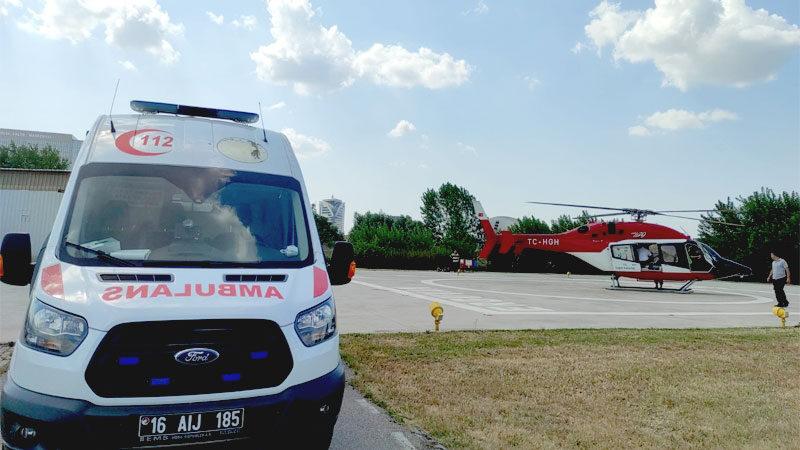Bursa'da ambulans helikopter 46 yaşındaki hasta için havalandı