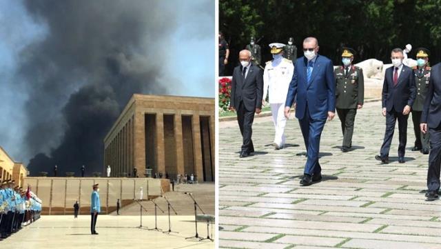 Erdoğan'ın Anıtkabir'i ziyareti sırasında korkutan görüntü! Alevler bir anda yükseldi