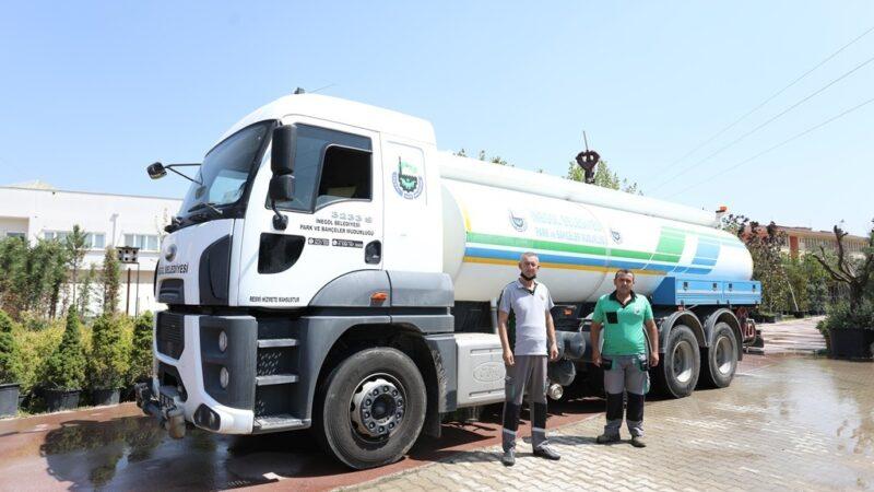 İnegöl Belediyesi'nden yangın bölgesine araç desteği