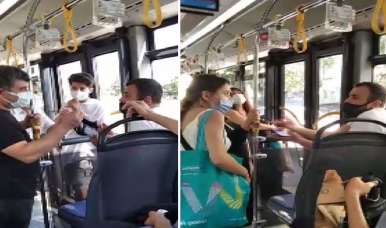 Maskesini burnunun altına indirdi, otobüs karıştı