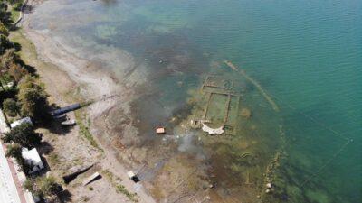Görüntüler Bursa'dan… Sular 200 metre çekilince gün yüzüne çıktı