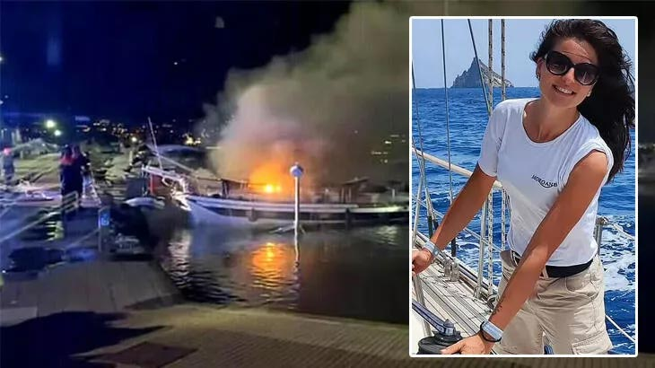 Çıkan yangında tekne alevler içinde kaldı! Hostes o sırada uyuyordu…