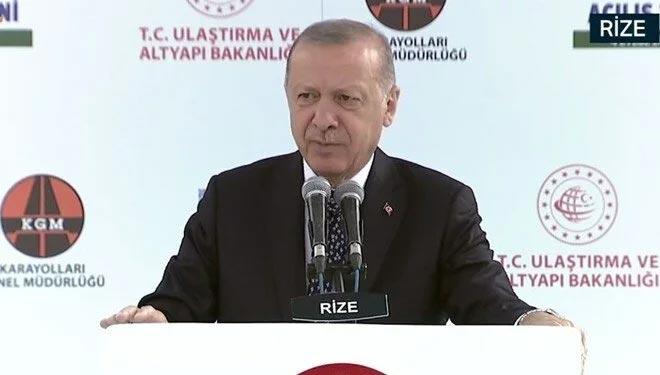 Cumhurbaşkanı Erdoğan: Bu tünel Rize'nin 70 yıllık hayalidir