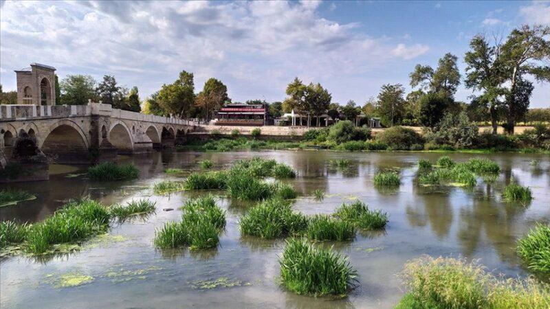 Su seviyesi dibe vurdu, Tunca Nehri otluk oldu
