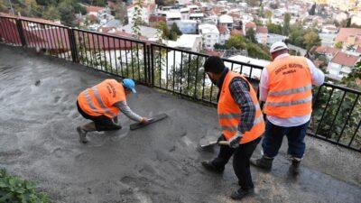 Osmangazi Belediyesi atla malzeme taşıyıp yol yapıyor