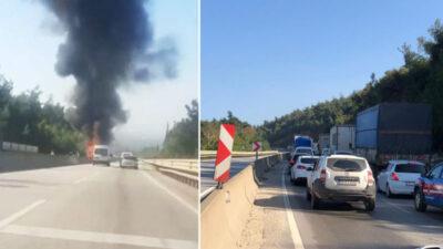 Bursa'da trafiği felç eden kaza! Alev topuna döndü