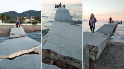 Görüntüler Bursa'dan… Bu iskeleyi hiçbir yetkili görmüyor mu?