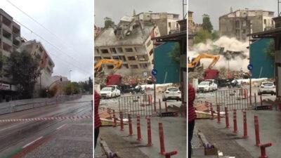 Bursa'da tarihi gölgeleyen binalar böyle yıkıldı