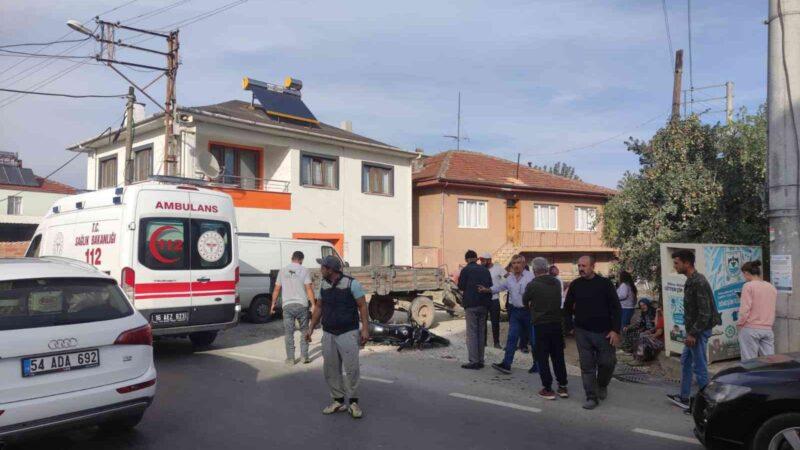 Bursa'da traktör ile motosiklet çarpıştı: 1 ağır yaralı