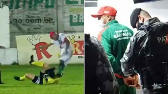 Hakeme saldıran futbolcu maç sırasında gözaltına alındı
